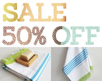 SALE 50 OFF/ Turkish Beach Bath Towel / Classic Peshtemal / Blue Green / Wedding Gift, Spa, Swim, Pool Towels and Pareo