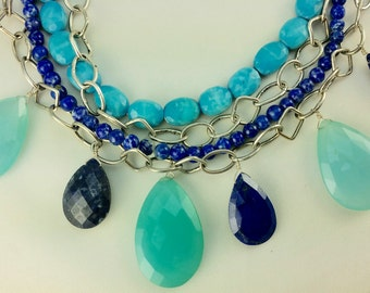CHALCEDONY, LAPIS Lazuli, Magnasite NECKLACE Sterling Silver Chain Multi Strand Layered Choker Statement Necklace