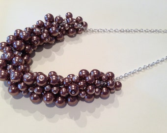 Mocha Brown Pearl and Silver Statement Necklace