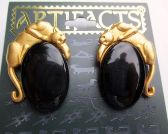 Vintage JJ earrings Panther Jonette jewelry- Signed JJ unique gift under 20 woman- 1986  Artifacts New Old Stock Made in the USA