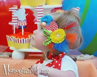 Circus Smash cake Birthday Headband - Hair Bow - Circus Birthday Party - Carnival - Photo prop