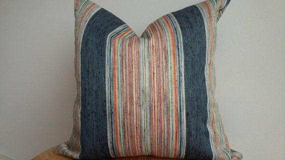 Woven Indigo Pillow Cover Fabric Vertical Stripe Boho Orange