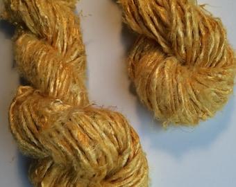 Banana yarn. Art yarn. 100g, yellow with a pearly sheen, Knitting yarn. For jewelry making, weaving and crafts! Soft slubby chunky yarn