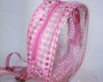 90s Clear Pink Gingham PVC Mini Backpack