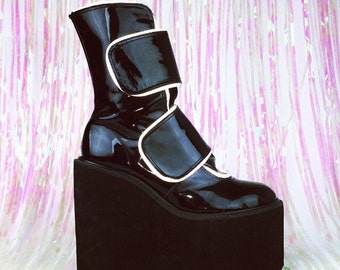 90's Reflective Piping Patent LeatherGoth Mega Platform Wedge Cyber Goth Boots // 9 - 10