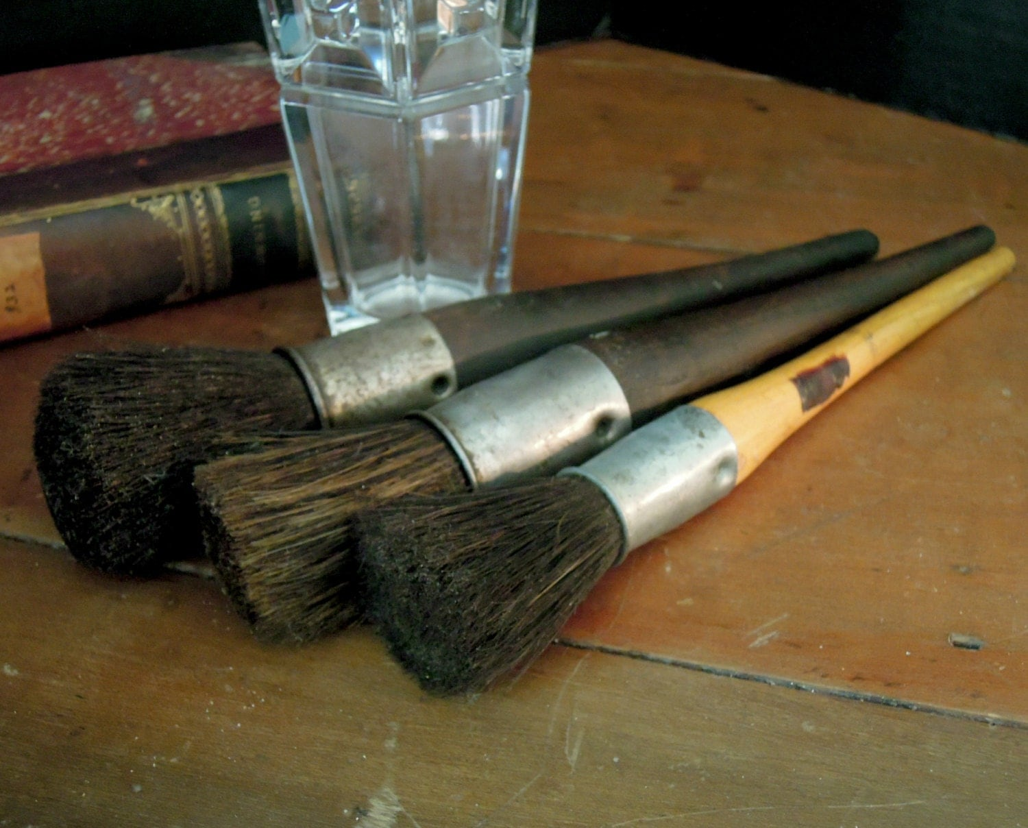 Three very vintage artists paint brushes natural horse hair - Natural horse hair interior upholstery brush ...