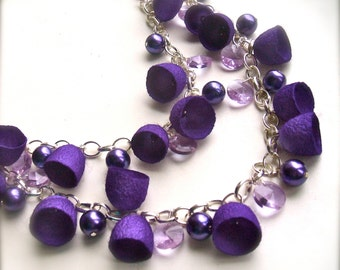 Long necklace with purple cocoons - Purple necklace -  OOAK - Handmade necklace-Asymetric  beads neacklace- Silk cocoons necklace