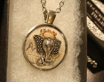 The Traveling Elephant  - Small Silver Elephant Head over Vintage Map  Pendant Necklace (2063)