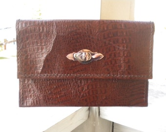 Alligator Embossed Leather Clutch - Ready to Ship