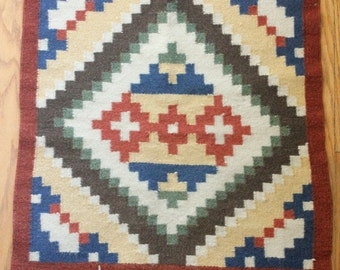 Vintage 20's/30's Native American Churro Wool Hand Woven Saddle Blanket Rug/Throw Rug