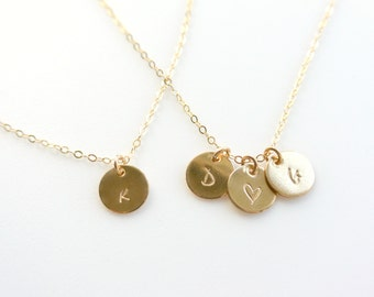 1 2 3 4 5 6 7 8 9 Personalized Gold Disc Necklace 14K Gold Filled Initial Disc Monogram Mothers Grandma Gift Necklace Bridesmaids Gift
