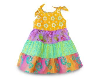 Toddler Summer Dress, Toddler Ruffle Dress, Summer Dress, Ruffle Girls Seahorse Dress, Colorful Girls Dress