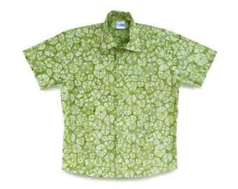 Green Tie-dye Mens Shirt, Birthday Gift Shirt, Green Cotton Shirt, Batik Mens Gift, Tie-dye Batik