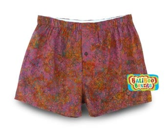 Womens Sleepshorts, Cotton Batik Sleepshorts, Womens Batik Boxers