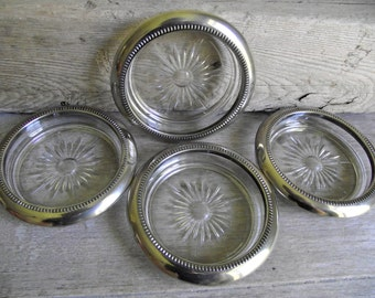 Glass Coasters with Silver Tone Metal Rims , Set of 4 Vintage Pressed Starburst Glass Coasters , Mid Century Retro Barware