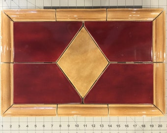 Kitchen Backsplash Tile Insert Red and Tan by Symmetrical Pottery