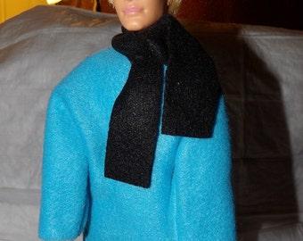 Teal blue Fleece coat & black scarf for Male Fashion Dolls - kdc70