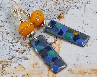 Copper Enameled Bohemian Chic Earrings Gypsy Earrings Summer Days Handmade Lampwork Sterling Silver Modern Earrings