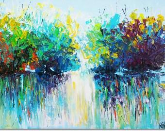 "Canvas Wall Art -Forest— Modern Landscape Acrilic Painting On Canvas 27""/31"" 1m/70cm By Gila slotin Art"