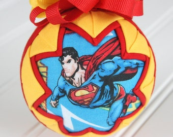 Quilted Ornament Ball/Red, Blue and Yellow - Superman