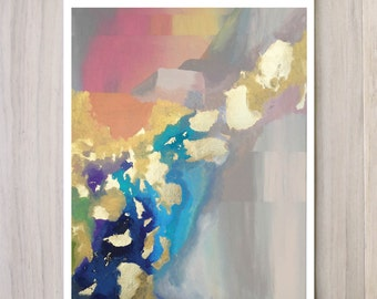 Digital Print of Looking West - Abstract, Colorful, modern, gold, subtle, beautiful, ambient, gold leaf, contemporary