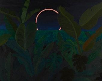 Paradise Found - bright medium tropical acrylic painting on wood vibrant plants jungle art modern original hipster boho nature green pink