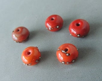 Handmade Lamp Work Beads, Orange Red Lamp Work Beads, Silver Embellishments, Artisan Beads, 5 Beads