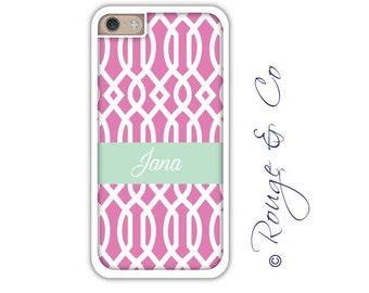 Monogram iPhone 6/6S * 6/6S PLUS * 5/5S * 5C personalized trellis phone case in custom colors with monogram or name