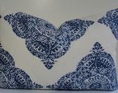 Decorative Pillow Cover -Lumbar pillow - JOHN ROBSHAW Designer - WoodBlock Print - indigo blue - Duralee throw pillow - accent pillow