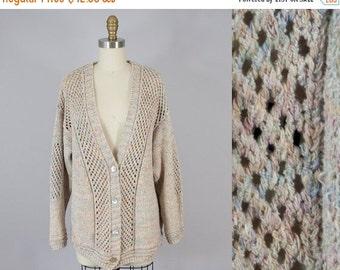 SALE 1980s Vintage Lattice Knit Marled Cardigan (M, L)