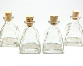 2 Ounce Triangle Bottle-Set of 4 Mini Pyramid Glass Bottles, Reed Diffuser, Oil & Vinegar, DIY Favors, Seasonings, Bath Salt, Samples, Spice
