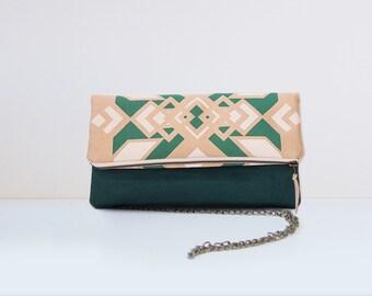 Large beige and green printed clutch geometric print and geometric lining