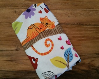REadY To ShIP! Baby Boy Travel Blanket. Alexander Henry's Just Hanging w/ Blue Minky. Animals, Birds, Monkeys, Lions, trees