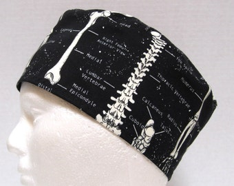 Mens Scrub Hat or Medical Skull Cap Anatomical Skeleton print