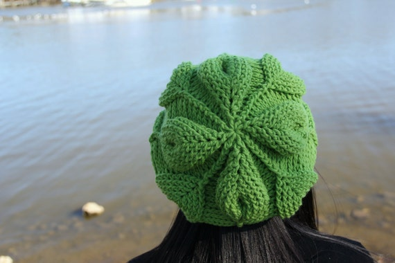 Crochet Pattern Embossed Leaves Slouch Hat Permission To