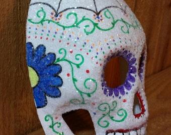Paper mache handmade sugar skull, Day of the Dead