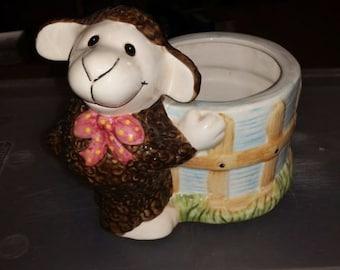 Sheep Flower Pot Vase Planter Country