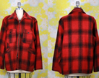 Vintage Vtg 1960's 60's Plaid Wool Hunting Jacket Men's Winter Lumberjack Red and Black Flannel Rustic Rocker Country Western Men's Medium