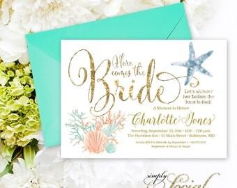 Under the Sea Coral Starfish Printable Bridal Shower Invitation Nautical Here Comes the Bride