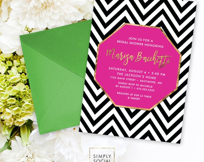 Chevron Bridal Shower Invitation - Faux Gold Foil Classy Hot Pink Black and White Chevron Modern Calligraphy Typography Invite Printable