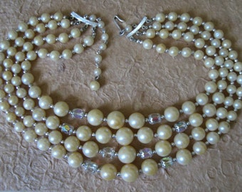 Vintage 1950s 4 Strand Ivory Pearl and AB Bead Necklace
