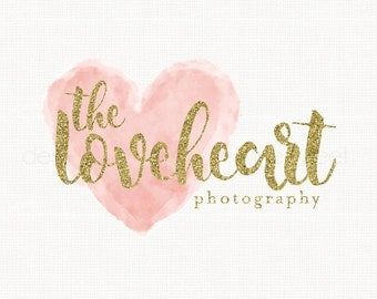 watercolor heart logo gold glitter logo photography logo premade logo event planner logo wedding logo design bespoke logo watercolour logo