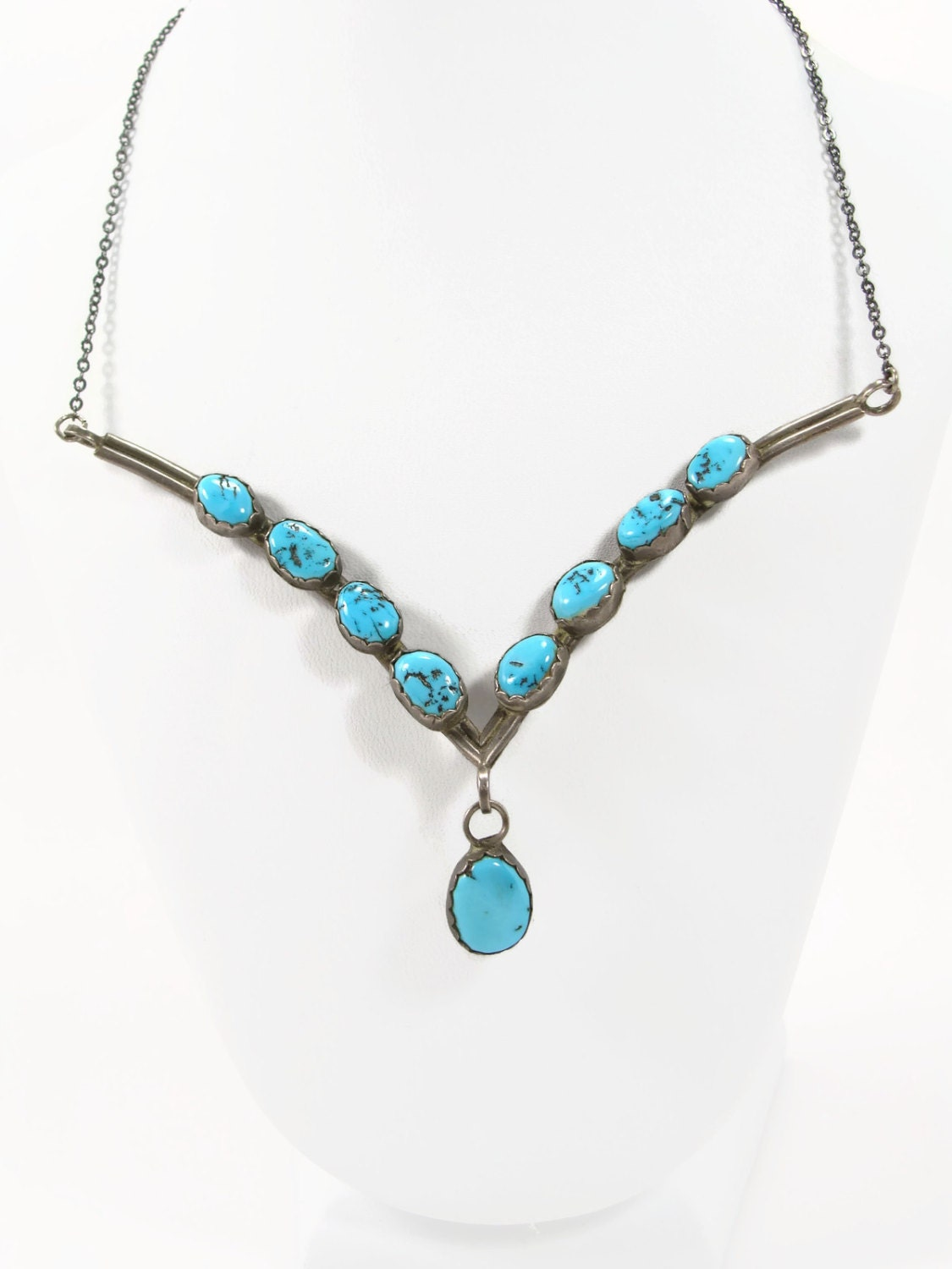Navajo sterling silver turquoise necklace native american for Southwestern silver turquoise jewelry