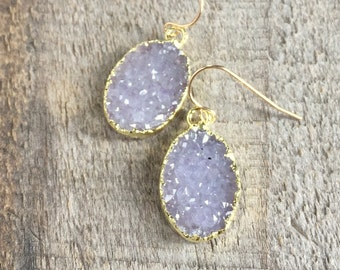 Druzy Earrings Lavender Druzy Quartz Drops 14K Gold Fill YOU CHOOSE
