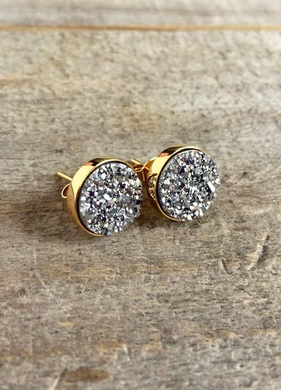 Silver Druzy Studs, Silver Druzy Earrings, Silver Druzy Quartz Studs, Drusy Earrings, Drusy Studs, Druzy Jewelry, Stud Earrings