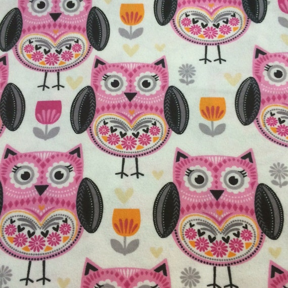 Pink Owls Flannel Fabric BTY