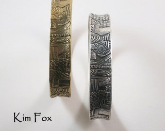 9 Inch Doodle Oval Bangles in Silver Zentangle designs in random pattern made by Kim Fox