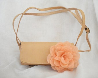 Small leather barrel purse, Leather clutch, Greek leather handbag, Barrel bag in nude, Crossbody bag, Flower clutch, Gift for her.