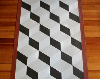 Sample Gray and White Pattern Canvas Floor Cloth