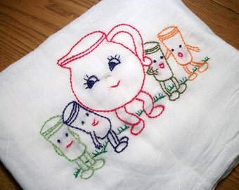 Dish Towel Dancing Dishes Design Flour Sack Kool Aid Pitcher and Glasses Hand Embroidered Dish Towel Flour Sack Dish Towel
